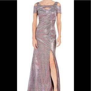 Formal dress metallic silver dress cold shoulders
